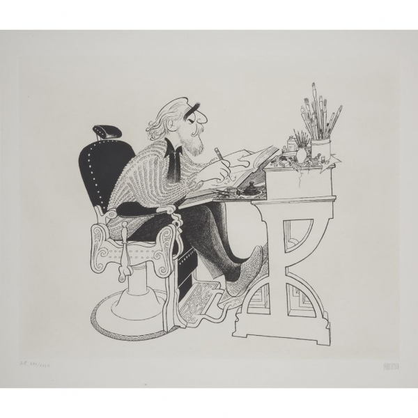 Al Hirschfeld Self Portrait in Barber's Chair at Al Hirschfeld Drawings Up for Auction & More for 108th Late Birthday