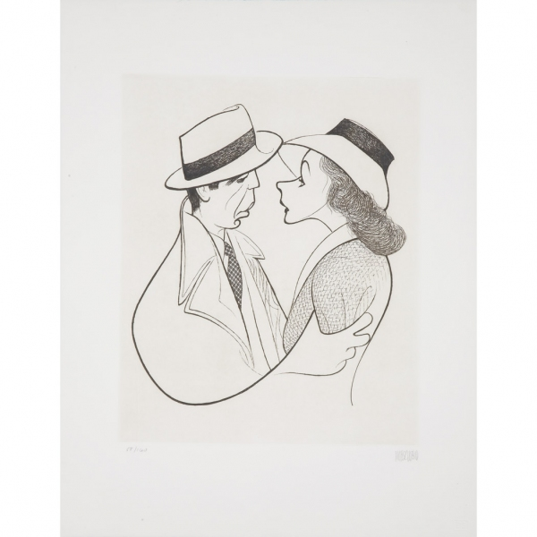 Casablanca with Humphrey Bogart and Ingrid Bergman at Al Hirschfeld Drawings Up for Auction & More for 108th Late Birthday