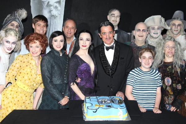 Jesse Swenson, Becca Ayers, Rachel Potter, Adam Grupper, Bebe Neuwirth, Roger Rees, Brad Oscar, Adam Riegler, Zachary James, Jackie Hoffman & Company with the cast of 'The Addams Family' celebrating their 500th performance with a special cake-cutting back at THE ADDAMS FAMILY Celebrates 500th Performance