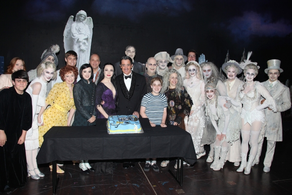 Jesse Swenson, Becca Ayers, Rachel Potter, Adam Grupper, Bebe Neuwirth, Roger Rees, Brad Oscar, Adam Riegler, Zachary James, Jackie Hoffman with the cast of 'The Addams Family' celebrating their 500th performance with a special cake-cutting backstage at t