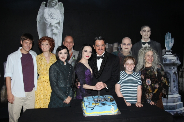 Jesse Swenson, Becca Ayers, Rachel Potter, Adam Grupper, Bebe Neuwirth, Roger Rees, Brad Oscar, Adam Riegler, Zachary James, Jackie Hoffman with the cast of 'The Addams Family' celebrating their 500th performance with a special cake-cutting backstage at t at THE ADDAMS FAMILY Celebrates 500th Performance