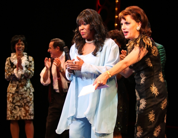 The Shirelles lead singer Shirley Alston Reeves visits the 'Baby it's You!'  Beth Leavel & the cast during their Curtain Call on Broadway in New York City.