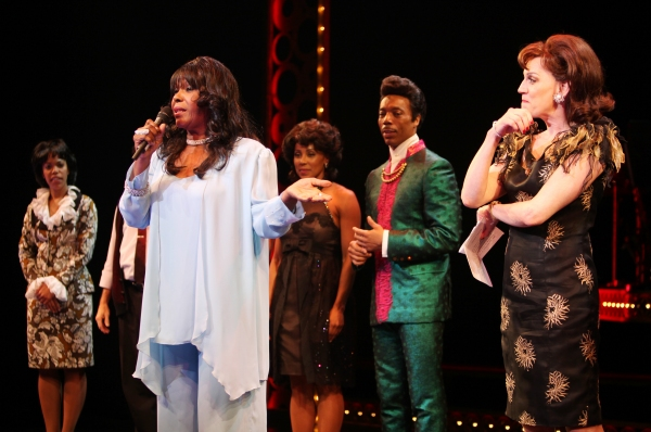 The Shirelles lead singer Shirley Alston Reeves visits the 'Baby it's You!'  cast during their Curtain Call on Broadway in New York City.