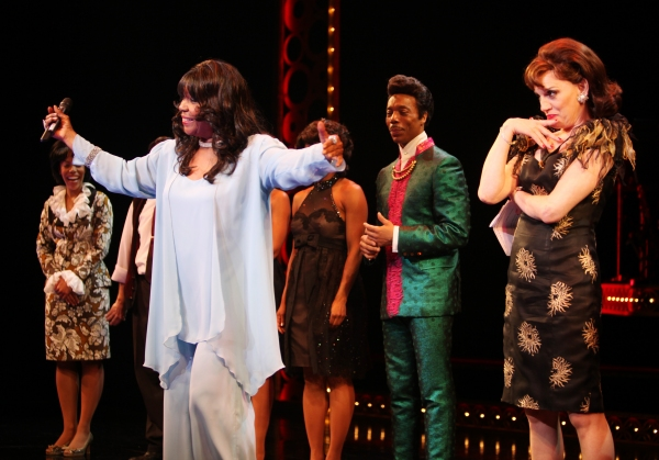 The Shirelles lead singer Shirley Alston Reeves visits Geno Henderson, Beth Leavel & the 'Baby it's You!'  cast during their Curtain Call on Broadway in New York City.