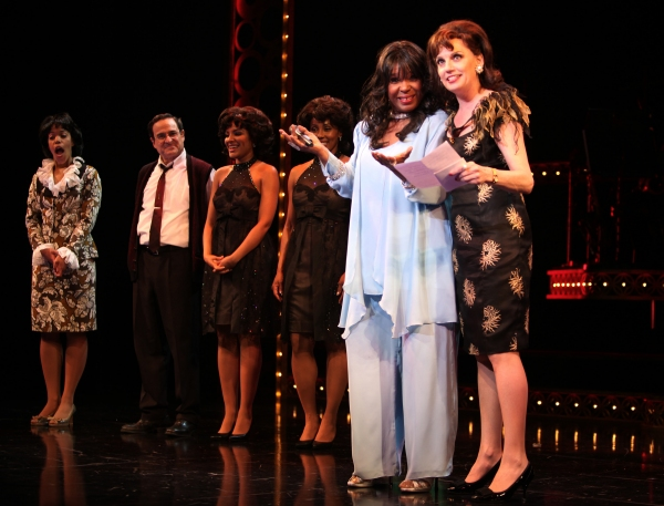 The Shirelles lead singer Shirley Alston Reeves visits Beth Leavel &  the 'Baby it's You!'  cast during their Curtain Call on Broadway in New York City.
