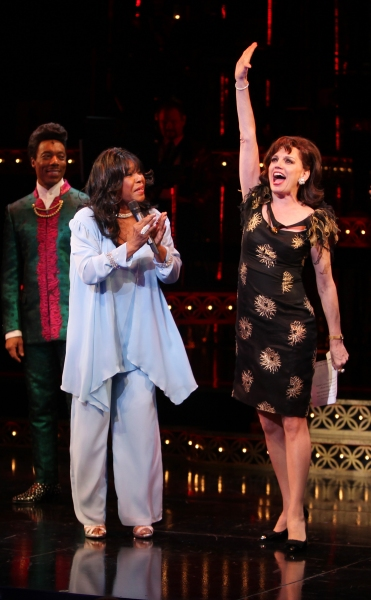 The Shirelles lead singer Shirley Alston Reeves visits Geno Henderson, Beth Leavel, Allan Louis & the 'Baby it's You!'  cast during their Curtain Call on Broadway in New York City.