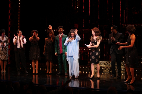 The Shirelles lead singer Shirley Alston Reeves visits Geno Henderson, Beth Leavel, Allan Louis & the 'Baby it's You!'  cast during their Curtain Call on Broadway in New York City. at Original Shirelles Singer Shirley Alston Reeves Visits BABY IT'S YOU!