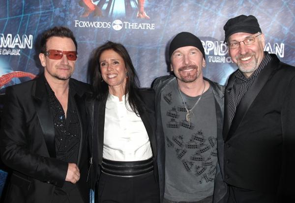 (L-R) Bono, director Julie Taymor, The Edge and director Philip William McKinley atte Photo