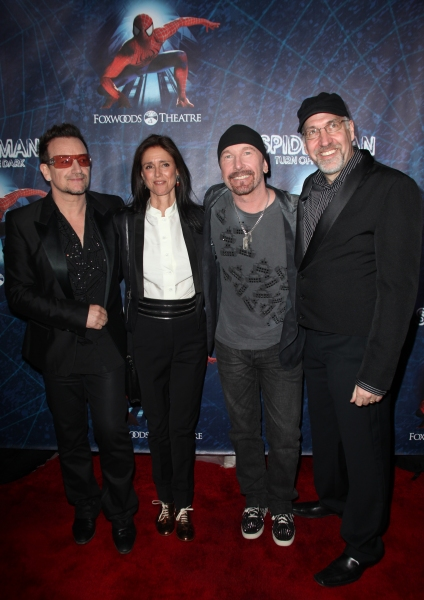 Bono, Julie Taymor, The Edge and Philip William McKinley attending the Opening Night  Photo