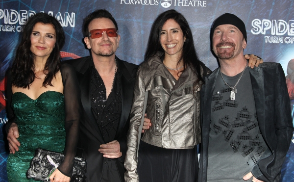 (L-R)Ali Hewson, Bono of U2, Morleigh Steinberg and The Edge of U2 attending the Opening Night Performance of 'Spider-Man Turn Off The Dark' at the Foxwoods Theatre in New York City.