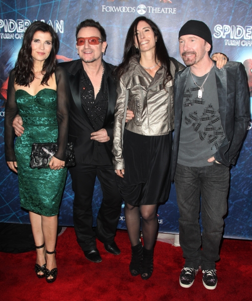 (L-R) Ali Hewson, Bono of U2, Morleigh Steinberg and The Edge of U2 attending the Opening Night Performance of 'Spider-Man Turn Off The Dark' at the Foxwoods Theatre in New York City.