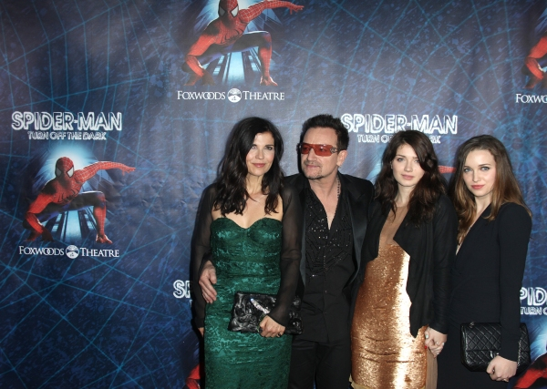 (L-R)Ali Hewson, Bono of U2, Eve Hewson and Jordan Hewson attending the Opening Night Performance of 'Spider-Man Turn Off The Dark' at the Foxwoods Theatre in New York City.