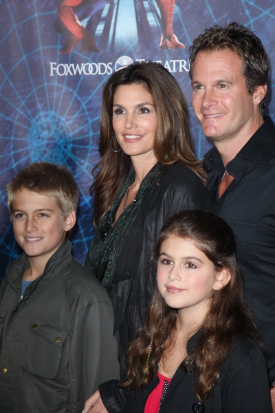 Cindy Crawford, Rande Gerber, Presley Gerber and Kaia Gerber attending the Opening Night Performance of 'Spider-Man Turn Off The Dark' at the Foxwoods Theatre in New York City.