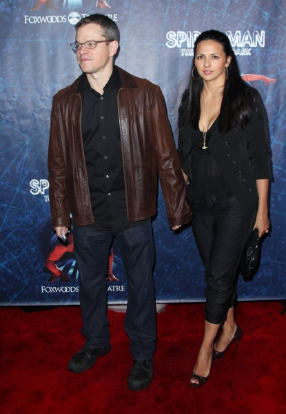 Matt Damon; Luciana Barroso attending the Opening Night Performance of 'Spider-Man Turn Off The Dark' at the Foxwoods Theatre in New York City. at SPIDER-MAN Starry Arrivals - Part 1