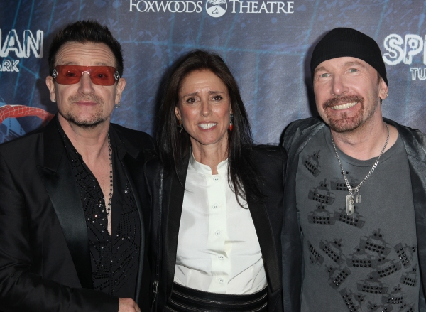 (L-R) Bono, director Julie Taymor, The Edge and director Philip William McKinley attending the Opening Night Performance of 'Spider-Man Turn Off The Dark' at the Foxwoods Theatre in New York City. at SPIDER-MAN Starry Arrivals - Part 2