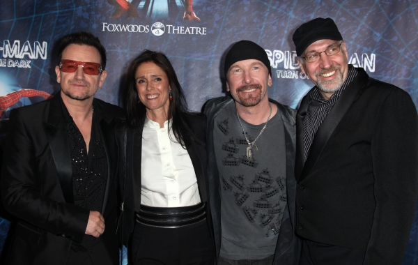 (L-R) Bono, director Julie Taymor, The Edge and director Philip William McKinley attending the Opening Night Performance of 'Spider-Man Turn Off The Dark' at the Foxwoods Theatre in New York City.