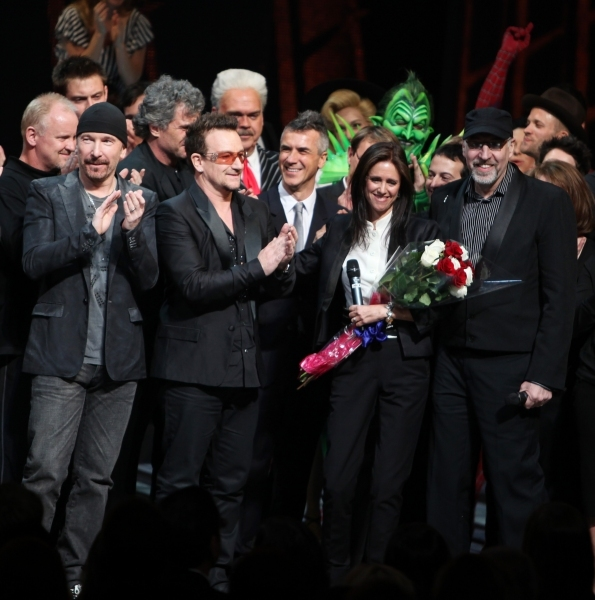 The Edge, Bono, Julie Taymor and Philip William McKinley. Photo Credit: Walter McBrid Photo