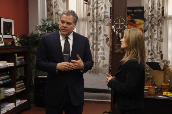 LAW & ORDER: CRIMINAL INTENT -- 'Icarus' -- Pictured: (l-r) Vincent D'Onofrio as Detective Robert Goren, Kathryn Erbe as Detective Alex Eames -- Photo by: Will Hart/USA Network at First Look at Law & Order Spider-Man Episode
