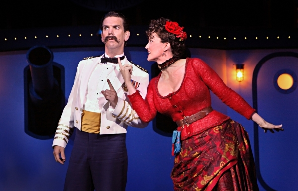 Robert O. Berdahl (Captain Corcoran) and Christina Baldwin (Buttercup) in the Guthrie Theater�'•s production of Gilbert and Sullivan�'•s H.M.S. PINAFORE, with additional material by Jeffrey Hatcher. Directed by Joe Dowling, choreography and musical st