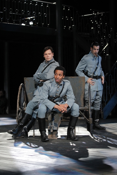 Michael Hayden, Andre Holland and Lorenzo Pisoni in All's Well That Ends Well, directed by Daniel Sullivan, running in rep thru July 30. 