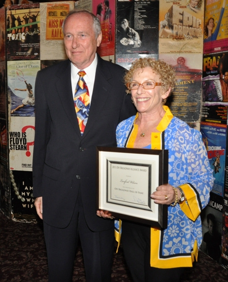 Marshall Mason and Tanya Berezin  accepting on the behalf of Langord Wilson who is inducted into the Off Broadway Hall of Fame