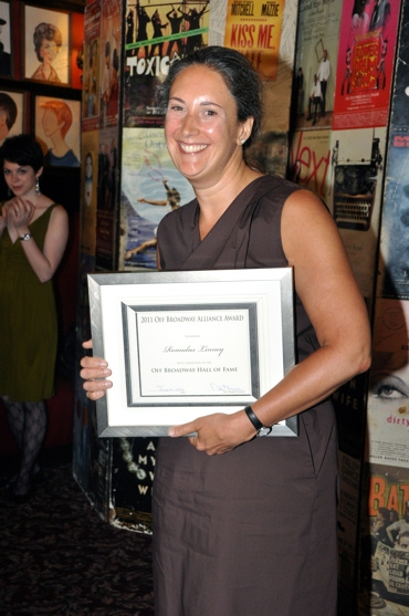 Laura Callanan accepts the award for her husband Romulus Linney as he inducted into the Off Broadway Hall of Fame