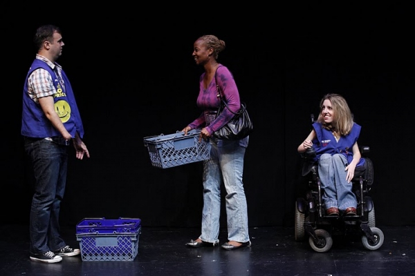 David Harrell (Toby), Melanie Nicholls-King (Customer One), and Shannon DeVido (Mary) in Samuel D. Hunter's WELCOME TO WAL*MART