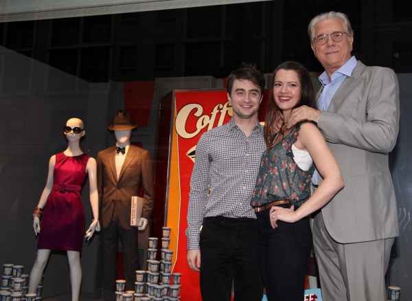 "Daniel Radcliffe, Rose Hemingway, John Laroquette with Rich Weiner (Reginal Vice President of Stores) unveils 'How To Succeed"" windows in New York City."