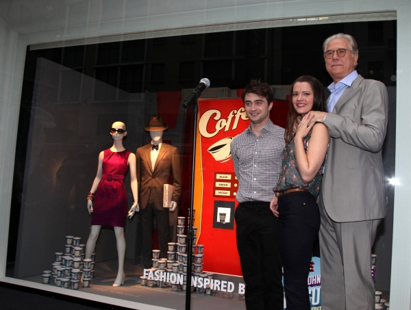 "Daniel Radcliffe, Rose Hemingway and John Laroquette unveil 'How To Succeed"" windows in New York City."