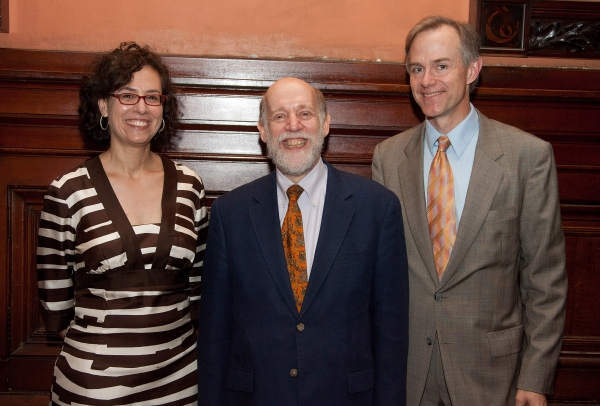 Roundtable co-presidents and incoming co-chairs Kati Koerner and Theodore Wiprud with honoree and outgoing chair David Shookhoff (center)