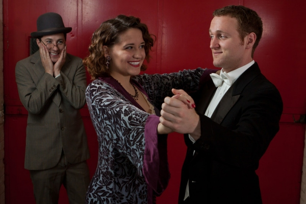Brian Marshall as Otto Kringelein, Emily Grodzik as Flaemmchen, and Nate Huntley as Baron Felix Von Gaigern
