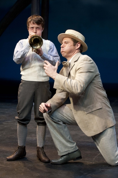 Zion Smith (left) as Winthrop Paroo and Brian Vaughn as Harold Hill