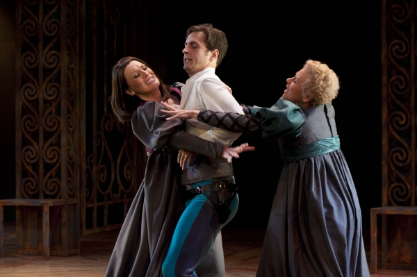 Melinda Parrett (left) as Lady Capulet, Quinn Mattfeld as Benvolio, and Demetra Pittman as Lady Montague