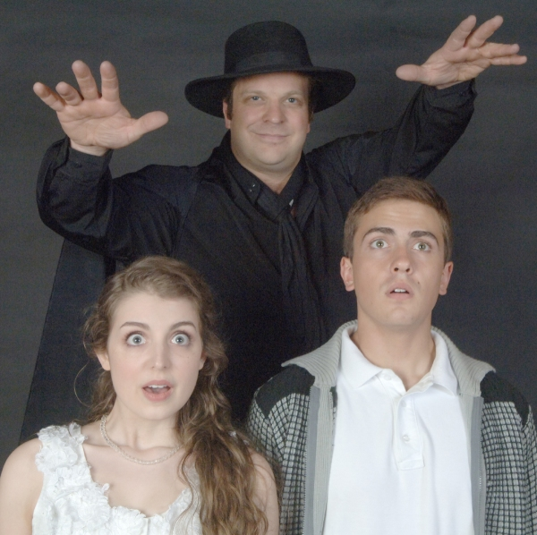 Carl Schoenborn as El Gallo and Carolyn Bartell Strauss and Lars Lee as the Boy and Girl