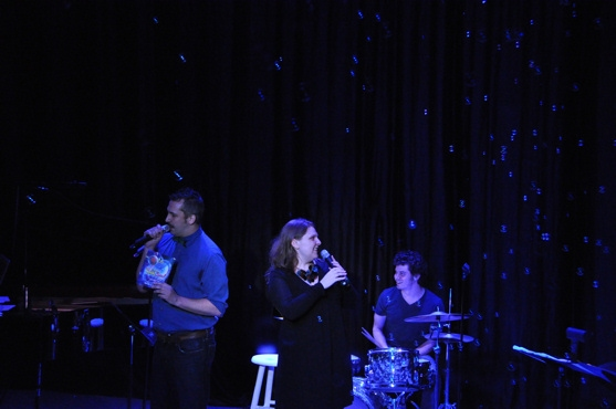 Hosts of the show-Ben Cameron and Colleen Harris being showered by The Gazillion Bubble Show