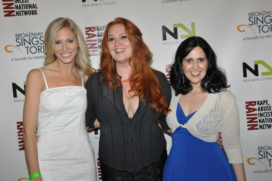 Stephanie Gibson, Katie Thompson and Stephanie D'Abruzzo at Chase, Andreas et al. Sing for RAINN Benefit