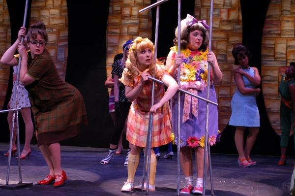 Julia Perrotta as Penny Pingleton and Megan Kane as Tracy Turnblad Photo