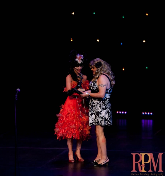 Elley-Ray Hennessy presents Dora Award to Sky Gilbert