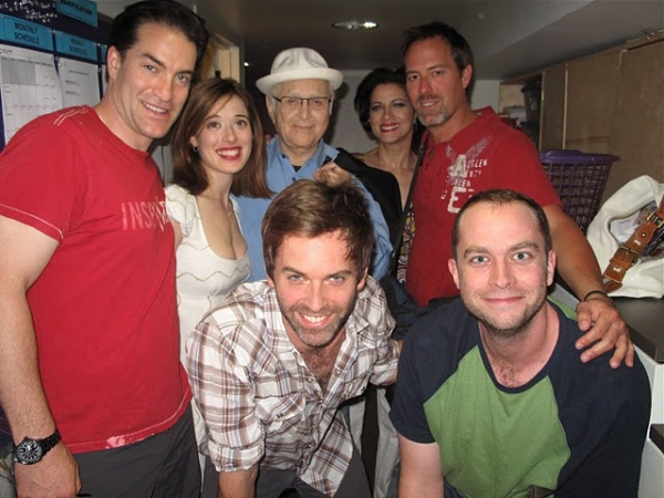 Jeremy Stiles Holm, Marina Squerciati, Norman Lear, Saundra Santiago, Robert Bogue; (foreground, l-r): Brendan McMahon, and John-Patrick Driscoll at Al Pacino, Norman Lear Visit Cherry Lane's MANIPULATION