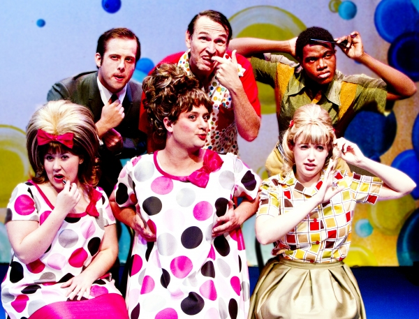 Jonathan Brugioni as Link Larkin, Larry Mahlstedt as Wilbur Turnblad, Ken-Matt Martin as Seaweed J. Stubbs, Mary Craven as Penny Pingleton, Douglas Cochrane as Edna Turnblad, and Samantha Aaron as Tracy Turnblad.  at DM Playhouse's HAIRSPRAY