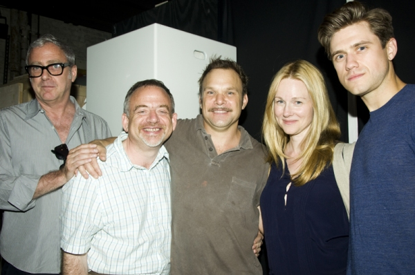 Scott Wittman, Marc Shaiman, Norbert Leo Butz Laura Linney & Aaron Tveit at Linney, Lucci Celebrate CATCH ME IF YOU CAN's 100th Performance on Broadway!