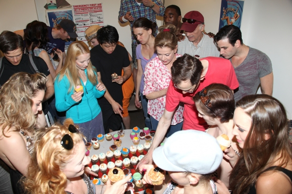 John McMartin, Sutton Foster, Walter Charles, Jessica Walter, Adam Godley, Colin Donnell, Jessica Stone & Laura Osnes with the ensemble cast celebrate their 100th performance of ANYTHING GOES with Cupcakes backstage in New York City.