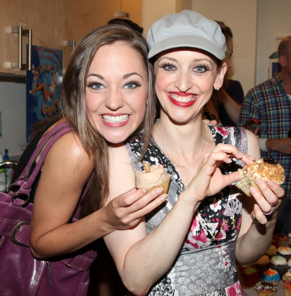 Laura Osnes & Jessica Stone with the ensemble cast celebrate their 100th performance of ANYTHING GOES with Cupcakes backstage in New York City.