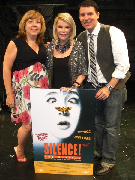 Joan Rivers (center) with producers Victoria Lang and Rich Affannato at SILENCE! The Musical at Theatre 80.