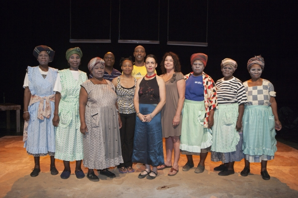 Members of the Ngqoko Cultural Group with Jabulile Tshabalala (5th from left), Sandile Matsheni (6th from left), director/playright Yael Farber (center), and Dorothy Ann Gould (4th from right)