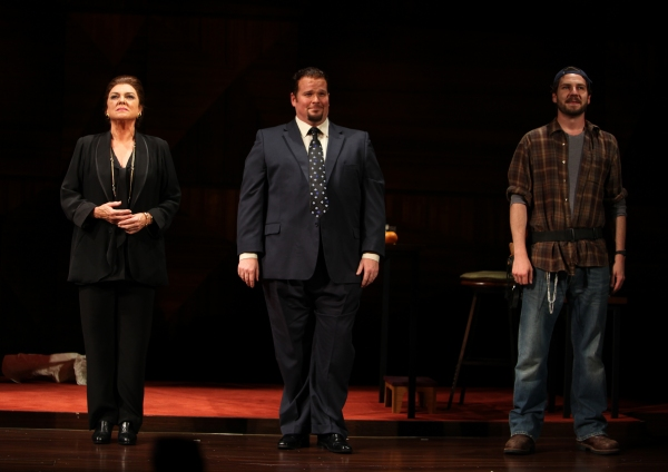 Tyne Daly as Maria Callas with Garrett Sorenson & Clinton Brandhagen at the Opening Night Performance Curtain Call for The Manhattan Theatre Club's  'Master Class' at the Samuel J. Friedman Theatre in New York City.