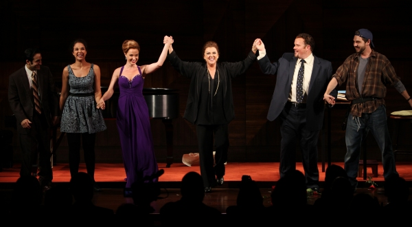 Tyne Daly as Maria Callas with Jeremy Cohen, Alexandra Siber, Sierra Boggess, Garrett Sorenson & Clinton Brandhagen at the Opening Night Performance Curtain Call for The Manhattan Theatre Club's  'Master Class' at the Samuel J. Friedman Theatre in New Yor