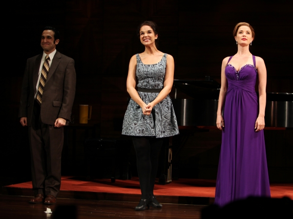Tyne Daly as Maria Callas with Jeremy Cohen, Alexandra Siber, Sierra Boggess at the Opening Night Performance Curtain Call for The Manhattan Theatre Club's  'Master Class' at the Samuel J. Friedman Theatre in New York City.