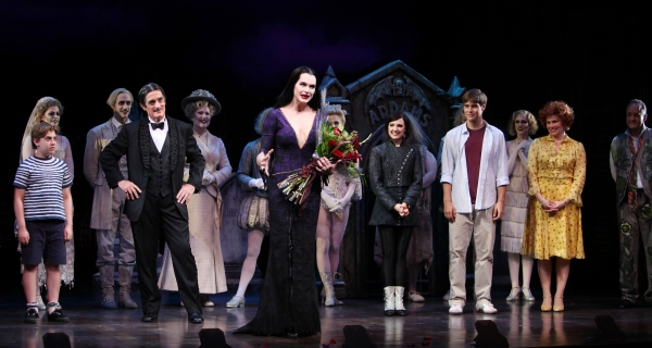 Brooke Shields as Morticia Addams with Brad Oscar, Zachary James, Jackie Hoffman, Roger Rees, Adam Grupper, Jesse Swenson & Heidi Blickenstaff at the Curtain Call for her debut in 'The Addams Family' at the Lunt-Fontanne Theatre  in New York City. at Brooke Shields Opens in THE ADDAMS FAMILY - Curtain Call!