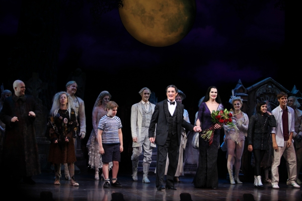 Brooke Shields as Morticia Addams with Brad Oscar, Zachary James, Jackie Hoffman, Roger Rees, Adam Grupper, Jesse Swenson & Heidi Blickenstaff at the Curtain Call for her debut in 'The Addams Family' at the Lunt-Fontanne Theatre  in New York City.
